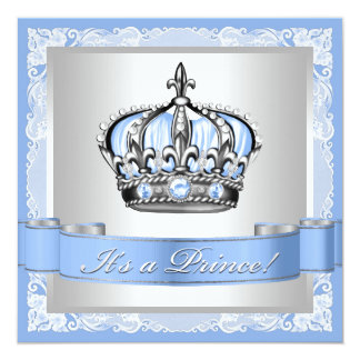 Baby Blue and Silver Prince Baby Shower 13 Cm X 13 Cm Square Invitation Card