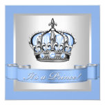 Baby Blue and Silver Prince Baby Shower Custom Invitation