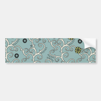 Baby Blue and White Flower Vines Bumper Sticker