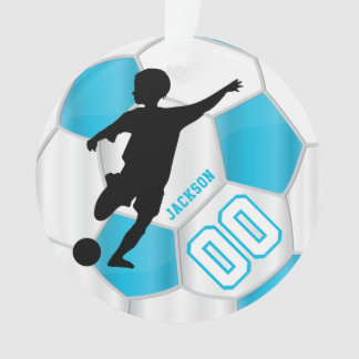 Baby Blue and White Personalize Boy Soccer Player Ornament