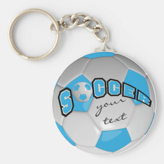 Baby Blue and White Personalize Soccer Ball Basic Round Button Key Ring