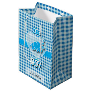 Baby Blue and White Plaid Baby Elephant Medium Gift Bag