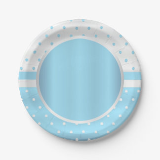 Baby Blue and White Polka Dots 7 Inch Paper Plate