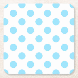 Baby blue and white polka dots square paper coaster
