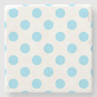 Baby blue and white polka dots stone beverage coaster