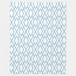 Baby Blue And White Retro Geometric Pattern 2 Fleece Blanket