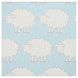 Baby blue and white sheep farm animal print fabric