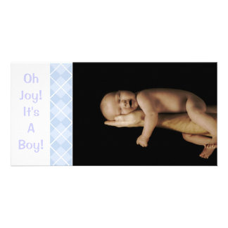 Baby Blue Argyle - Oh Joy! It's A Boy! Customised Photo Card