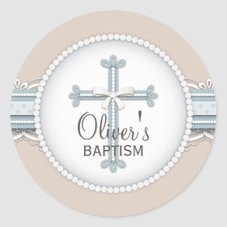 Baby Blue | Beige Religious Celebration Cross Round Sticker
