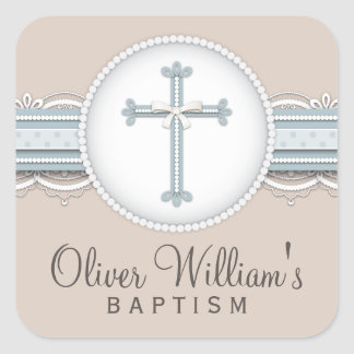 Baby Blue | Beige Religious Celebration Cross Square Sticker