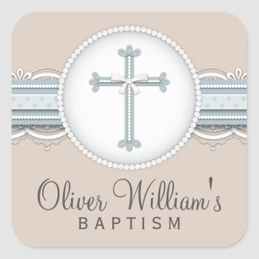Baby Blue | Beige Religious Celebration Cross Stickers