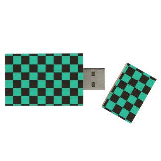 Baby blue black checkers wood USB 2.0 flash drive