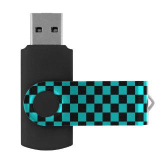 Baby blue black checkers swivel USB 2.0 flash drive