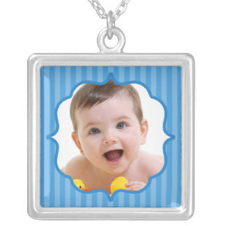 Baby Blue Boutique Striped Baby Photo Silver Plated Necklace