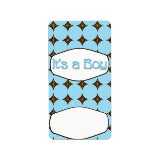 Baby Blue Boy Hersheys Miniature Candy bar wrap Address Label