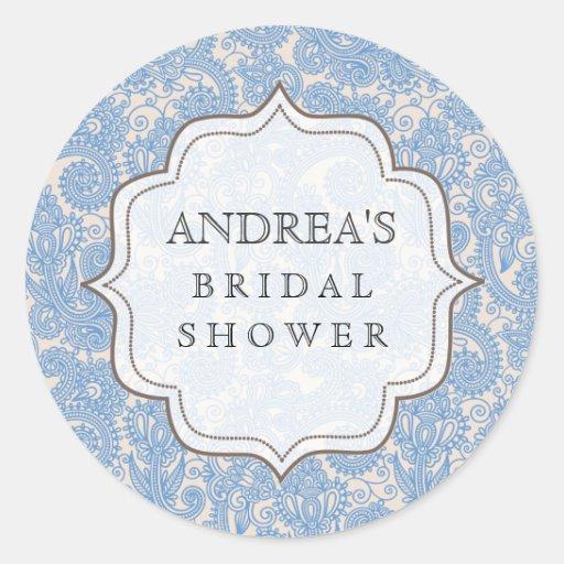 Baby Blue Bridal Shower Dessert Table Tag Label Sticker