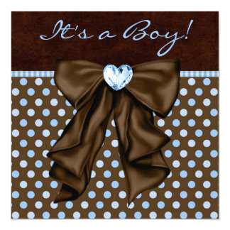 Baby Blue Brown Baby Boy Shower Card