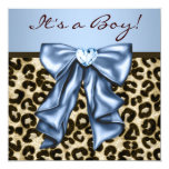 Baby Blue Brown Leopard Baby Boy Shower Custom Invites