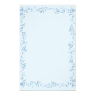 Baby Blue Bubble Border Design Stationery
