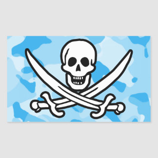 Baby Blue Camo; Camouflage Jolly Roger Rectangular Stickers
