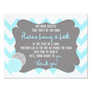 Baby Blue Chevron Baby Shower Request a Book Card 11 Cm X 14 Cm Invitation Card