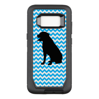 Baby Blue Chevron With Lab Silhouette OtterBox Defender Samsung Galaxy S8 Case