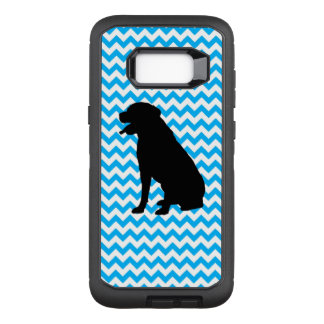Baby Blue Chevron With Lab Silhouette OtterBox Defender Samsung Galaxy S8+ Case