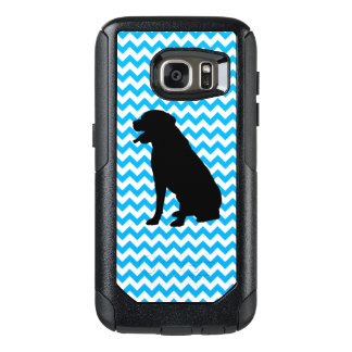 Baby Blue Chevron With Lab Silhouette OtterBox Samsung Galaxy S7 Case