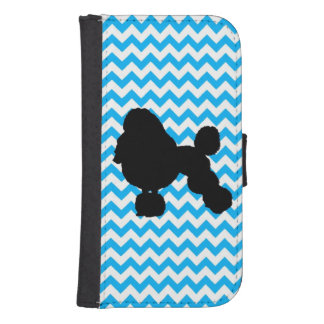 Baby Blue Chevron With Poodle Samsung S4 Wallet Case