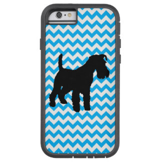 Baby Blue Chevron With Schnauzer Tough Xtreme iPhone 6 Case