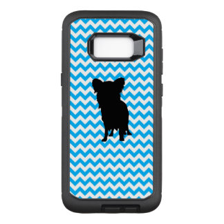 Baby Blue Chevron With Yorkie Silhouette OtterBox Defender Samsung Galaxy S8+ Case