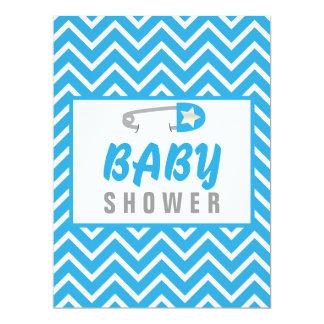 Baby Blue Chevrons 17 Cm X 22 Cm Invitation Card