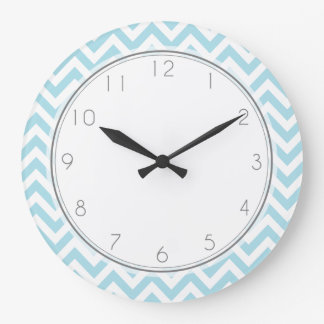 Baby Blue Chevrons Pattern Large Clock