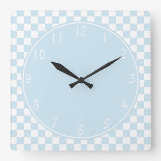 Baby blue circle Blue White Checkerboard Wall Clock