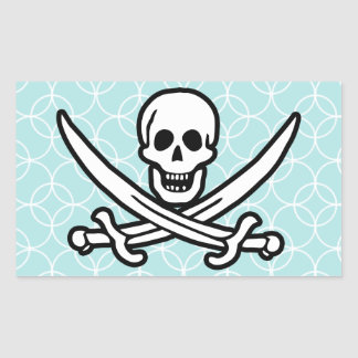 Baby Blue Circles Jolly Roger; Pirate Sticker