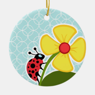 Baby Blue Circles; Ladybug Ceramic Ornament