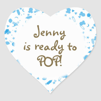 Baby Blue Confetti Baby Shower Favor Heart Sticker