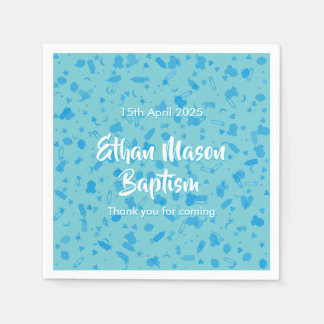 Baby Blue Confetti Baptism Christening Paper Napkin