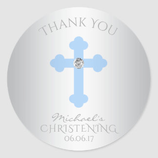 Baby Blue Cross Baptism/Christening Boy Thank You Classic Round Sticker