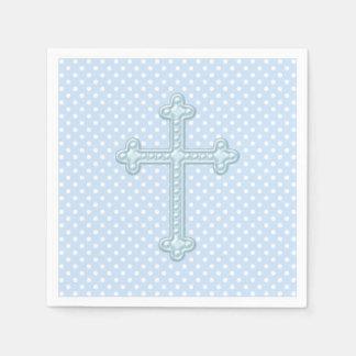Baby Blue Cross Christening Paper Napkin