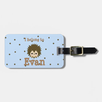 Baby blue cute hedgehog luggage tag