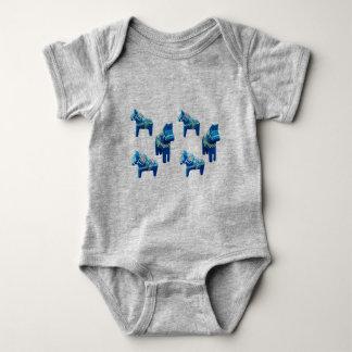 Baby Blue Dala Horse Body Suit Baby Bodysuit