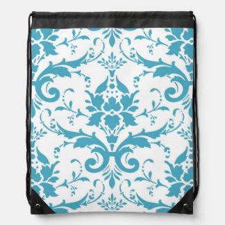 Baby Blue Damask Drawstring Backpack