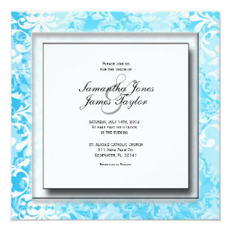 Baby Blue Damask Elegant Vintage Weddin Personalized Invitations