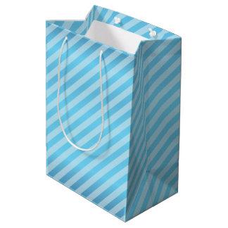 Baby Blue Diagonal Stripe Pattern Medium Gift Bag
