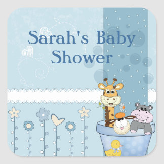 Baby Blue Dots Animals Flowers Baby Shower Square Sticker