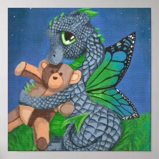 baby blue dragon fairy teddy bear bedtime poster