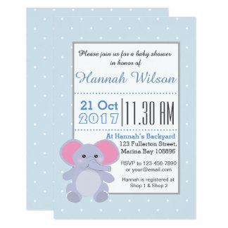 Baby Blue Elephant Baby Shower invitation