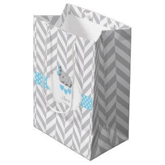 Baby Blue Elephant Design - Baby Boy Shower Medium Gift Bag