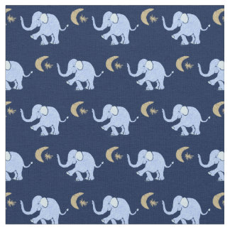 Baby Blue Elephants with Moon and Star on Blue Fabric